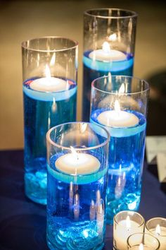 Best wedding centerpieces flowers blue floating candles ideas – Famous Last Words Floating Candle Centerpieces, Candle Wedding Centerpieces, Quinceanera Centerpieces, Water Beads Centerpiece, Candle Decorations, Centrepieces, Vases, Floating Candles Wedding, Floating Lights