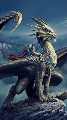 m Paladin Plate Armor Lance Adult Dragon Mount d&d DnD Homebrew — Dragon Knight Class by Jodie Hall Mystical Animals, Mythical Creatures Art, Magical Creatures, Fantasy Creatures, Types Of Dragons, Cool Dragons, Dragon Knight, Dragon Rider, Robot Dragon