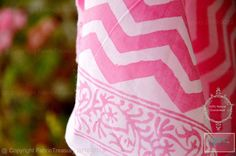 Cotton Block print fabric. Chevron Print on cotton. PASTEL PARADE. Pink. Cotton fabric for quilting