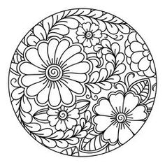 Outline round floral pattern for coloring book page. Antistress for adults and children. Doodle ornament in black and white. Free Adult Coloring Pages, Flower Coloring Pages, Mandala Coloring Pages, Coloring Book Pages, Mosaic Crafts, Mosaic Art, Free Vector Art, Draw Vector, Dibujos Zentangle Art
