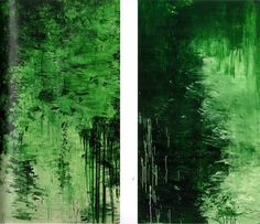"""bildwerk: """" Cy Twombly """"Untitled Parts III and IV"""" oil and water based paint on wood panel. Cy Twombly, Green Paintings, Picasso Paintings, Robert Rauschenberg, Lush Green, Art Plastique, Contemporary Paintings, Painting On Wood, Shades Of Green"""