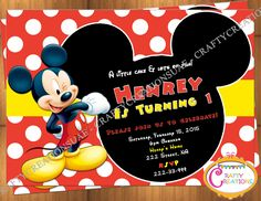 Mickey Mouse Invitation - Mickey Mouse Birthday Invite - Mickey Mouse Birthday Party Invite - Mickey Mouse Photo Invite - CraftyCreationsUAE by CraftyCreationsUAE on Etsy