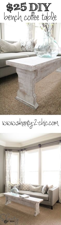 Free plans to build this bench coffee table! Love the finish!