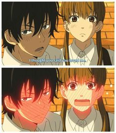 So cute blushing anime scene . Tonari no Kaitbutsu-kun