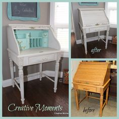 How to paint a mismatched vintage chair and desk makeover - DIY furniture makeover ideas by Girl in the Garage Retro Furniture, Repurposed Furniture, Furniture Projects, Diy Furniture, Urban Furniture, Painted Furniture, Repainting Furniture, Repurposed Items, Furniture Stores