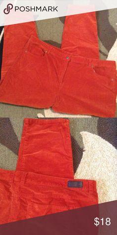 Liz Claiborne Cords Burnt Orange, cord stretchy fabric, skinny legs, Excellent Condition Liz Claiborne Pants Skinny