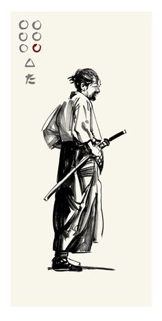 Akira Kurosawa's Seven Samurai - Gorobei by Greg Ruth ✤ || CHARACTER DESIGN REFERENCES | キャラクターデザイン • Find more at www.facebook.com/... if you're