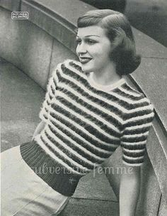 The   Vintage   Pattern   Files: 1950's Knitting - Angora Sweater Tristan