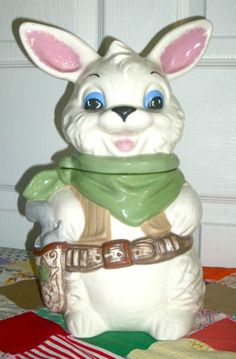 RARE Unstained White Twin Winton Gunslinger Sheriff Rabbit Vintage Cookie Jar | eBay