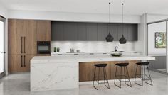 Modern Kitchen Design – Want to refurbish or redo your kitchen? As part of a modern kitchen renovation or remodeling, know that there are a . Farmhouse Style Kitchen, Home Decor Kitchen, Interior Design Kitchen, Home Design, Home Kitchens, Kitchen Ideas, Modern Interior, Kitchen Inspiration, Small Kitchens