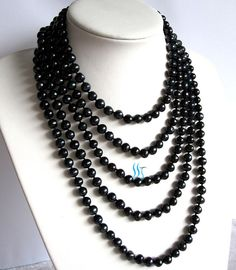 Black Pearl Necklace - 100 inches 7-8mm Black Freshwater Pearl Necklace - Free shipping sur Etsy, $29.23 CAD