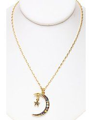 Kirks Folly ASTRAL MOONDANCE NECKLACE antique goldtone ~ New Never Released with Swarovski Crystals