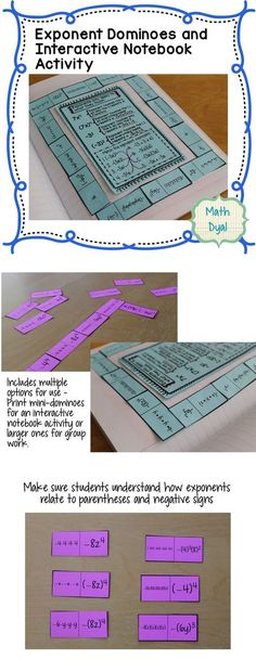 Exponent Dominoes: Clear up misconceptions about parentheses and exponents with this Interactive Notebook and Matching Activity