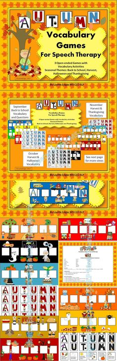 $ 3 printable games- A fresh look for each month! Draw cards & spell the word Autumn to win the game. Teach your students vocabulary, describing, categories, answering questions, and prepositions. Fun themed game boards for back to school, Halloween, Harvest and Thanksgiving. #speech therapy #vocabulary #describing #categories #wh questions #prepositions #teachers pay teachers #TpT # language fall #autumn #education #back to school #Halloween #Thanksgiving