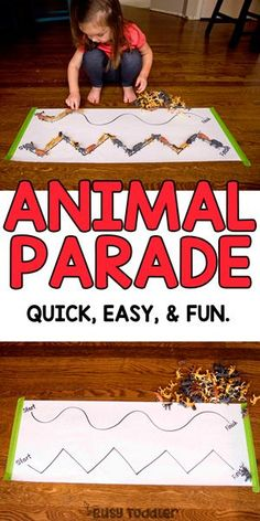 Animal Parade Toddler Activity - Busy Toddler : Animal Parade Toddler Activity Make an animal parade toddler activity! This quick and easy indoor activity is perfect for rainy days. Grab those animal toys and get them on parade! Zoo Animal Activities, Farm Activities, Motor Skills Activities, Toddler Learning Activities, Animal Games, Small Group Activities, Summer Activities, Zoo Preschool, Toddler Preschool