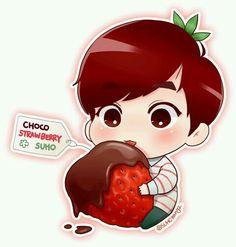 Cocho strawberry Suho (cr: suhorang2) - fanart
