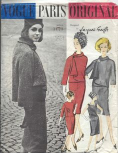 1961 Vintage VOGUE Sewing Pattern B31 JACKET & DRESS (1339R) By JACQUES GRIFFE  #VogueBYJACQUESGRIFFE