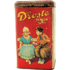 Vintage Advertising Tin Droste Cocoa Haarlem Holland Large 2 Pound Canister ca…