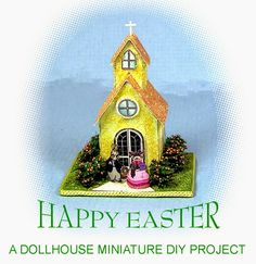 DYI DOLLHOUSE MINIATURES:      THE VILLAGE CHURCH    This little paper struc...