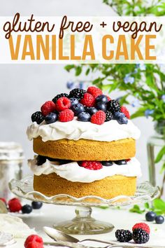 Gluten Free Vegan Vanilla Cake with Summer Berries {gluten, dairy, egg, nut & soy free, vegan} - This gluten free vegan vanilla cake recipe is THE recipe to have on hand if you have any kind of food allergy, or if you follow a vegan lifestyle. With a fluffy, moist sponge cake (no egg substitutes!) and a delicious coconut cream frosting, this recipe is both quick and easy! Gluten free dessert. Dairy free dessert. Vegan dessert. #vegan #glutenfree #dairyfree #dessert #vanilla #cake #food…