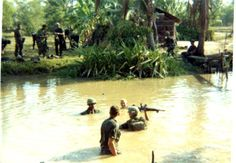 9th Infantry Division troops crossing a river ~ Vietnam War