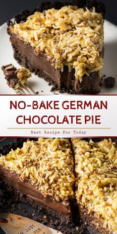 An indulgent and easy No-Bake German Chocolate Pie Recipe! Having a chocolate cookie crust, decadent chocolate filling, and coconut pecan t. German Chocolate Brownies, Chocolate Pie Recipes, Easy Chocolate Desserts, Chocolate Filling, Decadent Chocolate, Pie Dessert, Dessert Recipes, German Desserts, German Appetizers