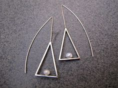 Triangle Shaped Sterling Silver Earrings with Pearl
