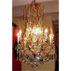 French bronze Baccarat crystal chandelier
