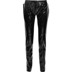 Ronald Van Der Kemp Crinkled patent-leather straight-leg pants (18 790 SEK) ❤ liked on Polyvore featuring pants, black, 1980s parachute pants, 80s pants, straight leg pants, straight leg trousers and origami pants