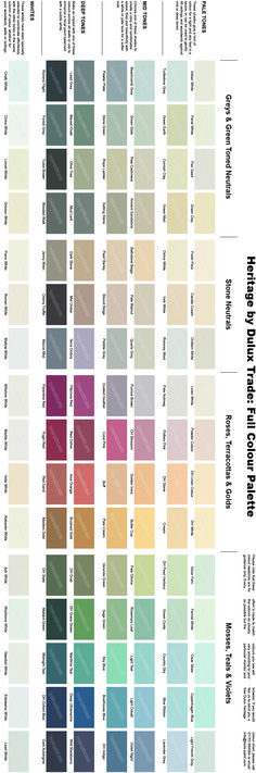 Dulux Heritage colour chart - full range of 112 colours.