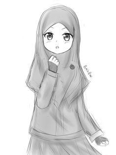 Explore collection of Muslimah Sketch Dark Art Drawings, Easy Drawings, Cartoon Sketches, Art Sketches, Hijab Drawing, Chibi Wallpaper, Islamic Cartoon, Hijab Cartoon, Islamic Girl