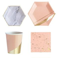 8pcs Pack Gold Blocking Pink Marble Texture Disposable Tableware Set Paper Plates Cups Napkins Party Wedding Carnival