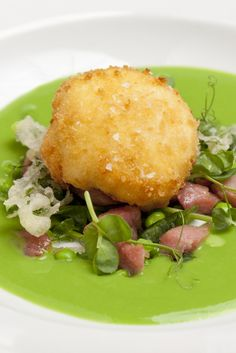 Roast Haddock Mediterranean Salad and a Cucumber Foam Fine