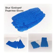 Blue Hand Crocheted Scalloped Fingerless by ICreateAndCollect