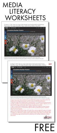Free print-and-use worksheets courtesy of Stanford University. Help students sha… Free print-and-use worksheets courtesy of Stanford University. Help students sharpen their media literacy! Literacy Worksheets, Literacy Activities, Media Literacy, Literacy Skills, Information Literacy, Library Lessons, Library Ideas, Middle School English, Media Studies