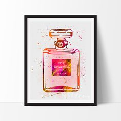 Chanel No. 5 Perfume Bottle Watercolor Art Print