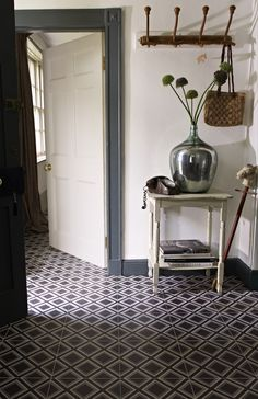 Patterned floor tiles..