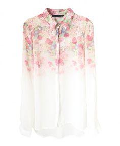 Retro Roses Printed Chiffon Blouse - Blouses - Clothing