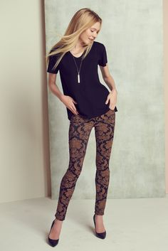 Jacquard print skinny leg #Denim