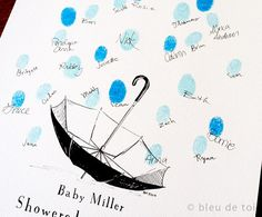 Baby Shower Umbrella with Thumbprint Raindrops Guest by bleudetoi