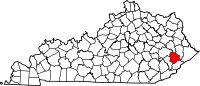 Location of Knott County, Kentucky