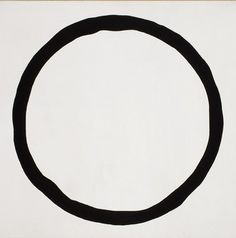 "Jiro Yoshihara ""Work"" (1967) this artwork is simple and calm. the curved line is thick and dark. this also exemplifies shape because the line forms a geometric circle."