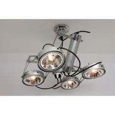 Strakke industriële plafondlamp LUXOR | 4-lichts aluminium