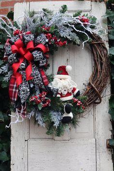 Items similar to Large Santa Christmas Wreath for Front Door, Christmas door wreath, Christmas decorations, Winter door decor, Classic Holiday decor on Etsy Large Christmas Wreath, Grapevine Christmas, Christmas Wreaths For Front Door, Holiday Wreaths, Santa Christmas, Christmas Crafts, Christmas Ornaments, Diy Wreath, Ornament Wreath