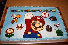 Super Mario Friends & Enemies - Sheet cake that is half chocolate, half white. All decorations done entirely in buttercream. Created design using clipart images and did a piping gel transfer on wax paper. Mario Bros Kuchen, Mario Bros Cake, Super Mario Cake, Super Mario Party, Mario Birthday Cake, Birthday Sheet Cakes, Super Mario Birthday, Boy Birthday, Birthday Ideas