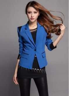 Handsome Black Leather Paned Blue Blazer for Woman