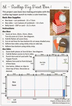 Stampin Up Scallop Tag Topper punch treat box with instructions pdf by Di Barnes Stampin Up Katalog, Stampin Up Anleitung, Envelope Punch Board, How To Make Box, Craft Box, Card Tutorials, Diy Box, Stamping Up, Card Templates