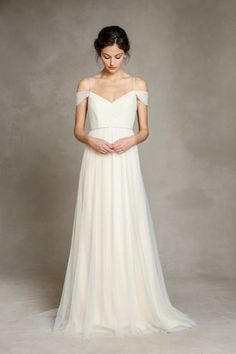 jenny yoo | 2015 bridal collection | wedding dress | bride | gown | sweetheart neckline | crisscross tulle bodice | spaghetti straps | off-the-shoulder draped tulle straps | natural waist | a-line soft tulle skirt | v-neck back