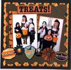 Treats! - Scrapbook.com - Fun Halloween layout using Reminisce supplies.