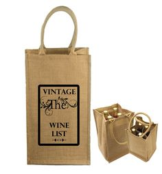 Jute Wine Bags - custom branded with your logo or message.  Great for corporate events, wineries, gifts, etc. Holds 4 bottles. #jute, #jutetotes, #advertising, #marketing